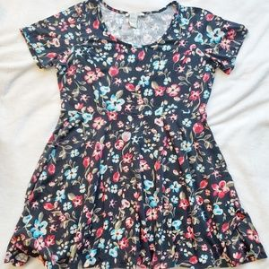 American Rag Black Floral Fit and Flare Dress 1X